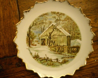 Currier and Ives Plate, The Old Homestead in Winter