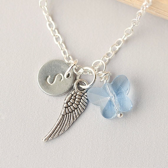 Personalized Initial Angel Wing Necklace, Swarovski Crystal Necklace