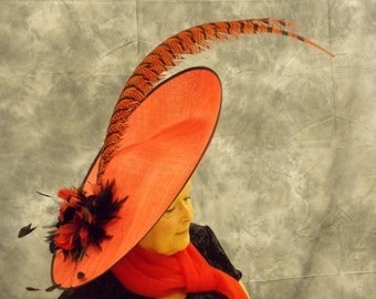 Extra Large Red & Black oval saucer fascinator with two extra long pheasant feathers.