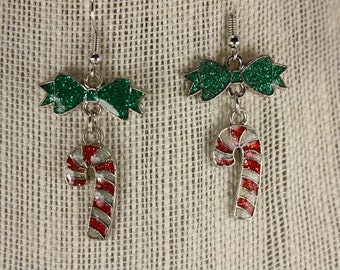 Candy cane enamel earrings - fishhooks  E234