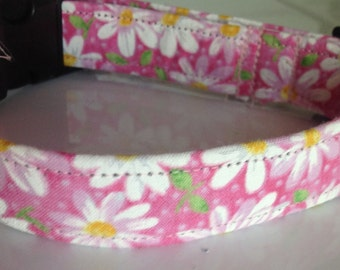 Pretty Pink Floral Daisy Collar for Girl Dogs and Cats