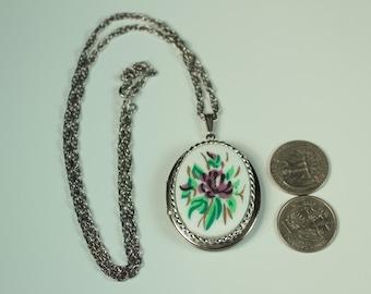 Purple Flower Locket Necklace