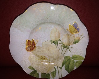 "Beautiful Decorative Glass Plate ""White Rose's Story"", Home decor, Table decor, Decoupage plate, Gift ideas"