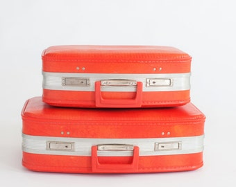 Newborn Prop Vintage Bright Orange Suitcases