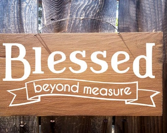 Blessed Beyond Measure Sign, Thanksgiving decor, autumn decor, fall decor, thanksgiving sign, holiday sign, fall sign
