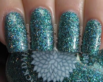 Green glitter nail polish by Black Dahlia Lacquer - Bells of Ireland -- vegan, 5-free and handmade