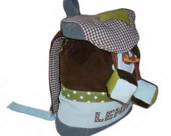 Kids backpack Karo asterisk kindergarten bag, shoulder bag made from corduroy in Brown, blue and green, with stars and cubes, personalized