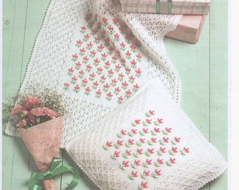 Free Knitting Patterns For Baby Crib Blankets : Embroidered Cot Cover and Nursery Cushion Cover in Double Knitting, Babies Nu...