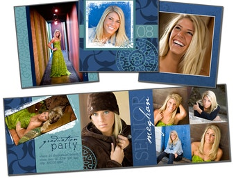 5x5 Trifold Card Template - BLUE COLLAGE - Digital File