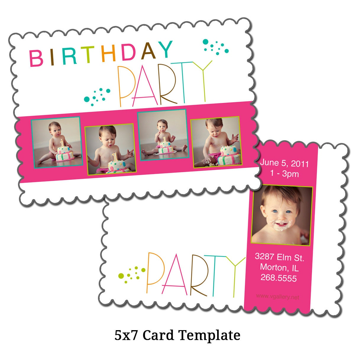 5x7 birthday invitation template birthday girl digital. Black Bedroom Furniture Sets. Home Design Ideas