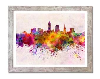 Cleveland skyline in watercolor background- SKU 0135