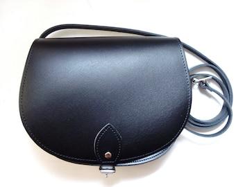 Black - Leather Saddle Bag