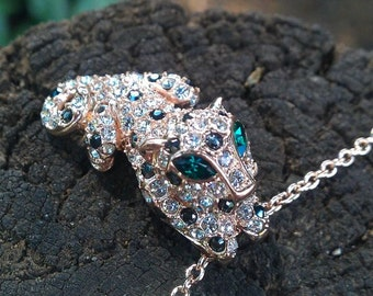 Cute crystal panther necklace - Gold Plated