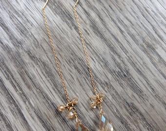 Swarovski crystal gold long chain earrings