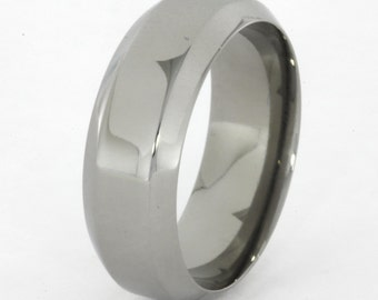 Chamfered Edge Profile, Polished Titanium Mens Wedding Band with a Comfort Fit