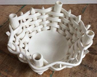 White woven ceramic bowl