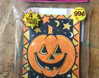 Unopened package of 20 Halloween treat bags from the 1990s in 4 styles