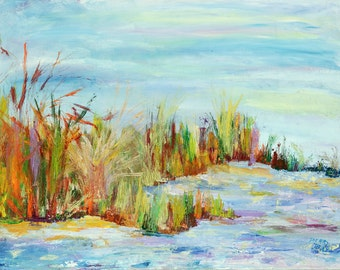 Giclee Canvas Print, Blues, Browns Greens Landscape,Waterscsape, Impressionistic**ships free**