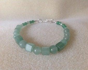 Green aventurine and sterling silver gemstone bracelet