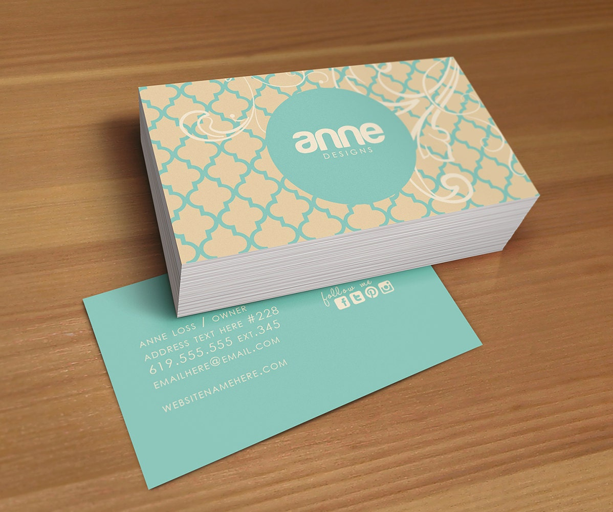 SALE Anne double sided business card Instant download