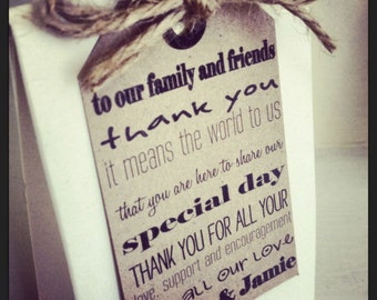 18 Personalised Vintage/Shabby Chic 'Thank you' wedding favour tags