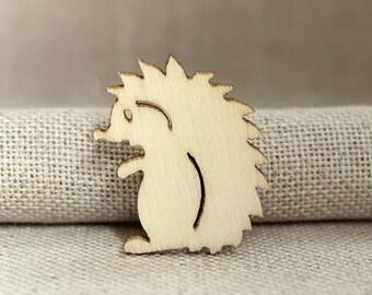 Woodland Hedgehog Plywood Brooch