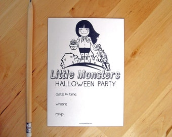 Halloween party invitation -  Little Monsters  - Hand made - Printable