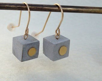 Dangle earrings, Concrete jewelry, Nickel free 24K Plated Gold Dangle Earrings by HS.