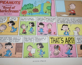 Linus comic, Lucy artwork, What is Art, Charlie Brown, Peanuts Gang, Comic Strip, Cartoon, Matte of Frame 8x10