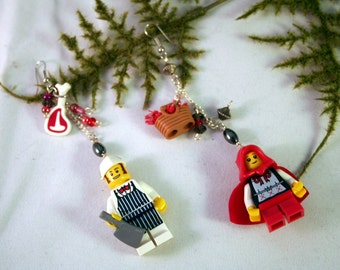 FREE USA Shipping! LEGO Little Red Ridding Hood Earrings