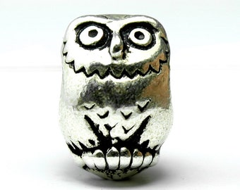 Silver Plated Owl Bead, 12x8.5mm, Set of 3 Euro Beads with Antique Finish, Made in USA, #TC123