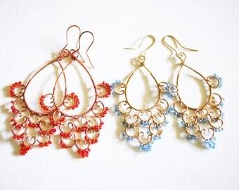 Lace earrings microbeads