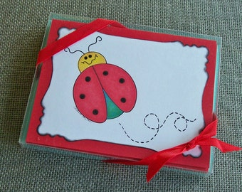 Original Art Stationery - Betsy Bug the Baby Ladybug Notecard Set w/ Scripture Verse