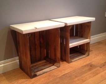 2 Crate side tables for your living room or bedroom.  chunky wooden top and shelf, perfect rustic storage.