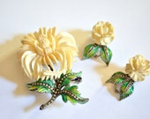 Enamel Flower Pin Earring Set, Sterling, Oxbone, Marcasite, PreWar, Carved Bone, Bouquet Jewelry, Clip Earrings, Blue, Green, Germany, 1940s