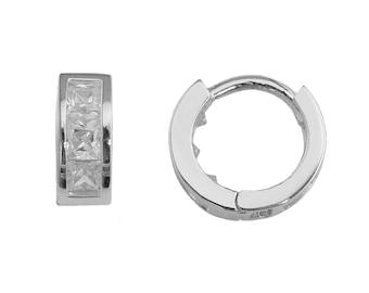 SH22 Sterling Silver Princess Cut Cubic Zirconia 9.5mm Huggie Hoop Earrings