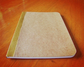 Handmade Gold Painted Notebook, Pocket Journal, Original Mini Diary and Jotter