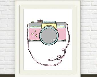 Camera Illustration Art // pink camera print // Instant Download // Office Art // Studio Art // 8x10 11x14 12x16 16x20 18x24 // Nursery Art