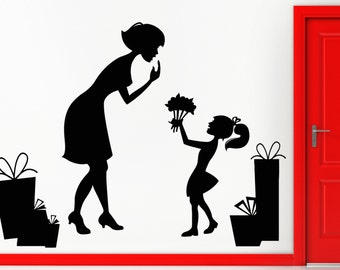Wall Sticker Family M0ther And Daughter Mothers Day z1328