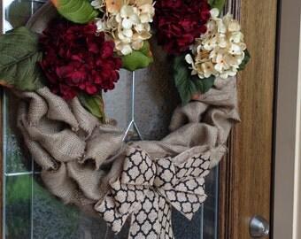 Burlap Wreath, Maroon Hydrangeas, White Hydrangeas, Burlap Bow, Art Deco Bow, Year Round Wreath