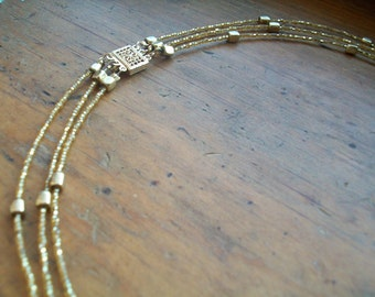 Gold seed bead necklace, brass necklace, three strand necklace