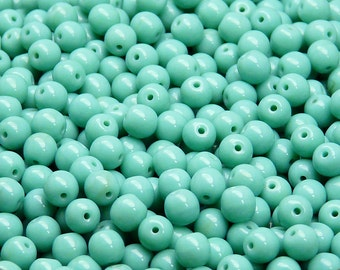50pcs Czech Pressed Glass Beads Round 5mm Opaque Turquoise Green