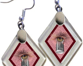 "Earrings ""I Can - Empowerment"" from rescued, repurposed window glass~Lightening landfills one tiny glass diamond at a time!"