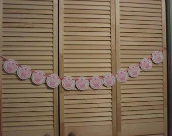 Cupcake Banner, Girls Birthday Party Banner, Tea Party Banner,