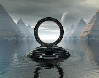 Stargate Digital Art  Glossy Print  'City Of Pyramids'