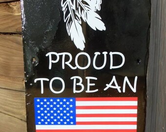 PROUD AMERICAN Slate - Patriotic Sign - USA - American Flag - American Pride - Red White & Blue - Stars and Stripes