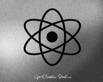 Atom Decal Atomic Decal Nuclear Wall Sticker Symbol Energy Electron Molecule Decal Nucleus Proton Neutron Particle Higgs Boson Physics Icon