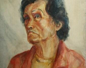 Vintage Impressionist Oil Painting, Portrait