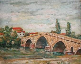 Antique Oil Painting, Landscape Bridge River