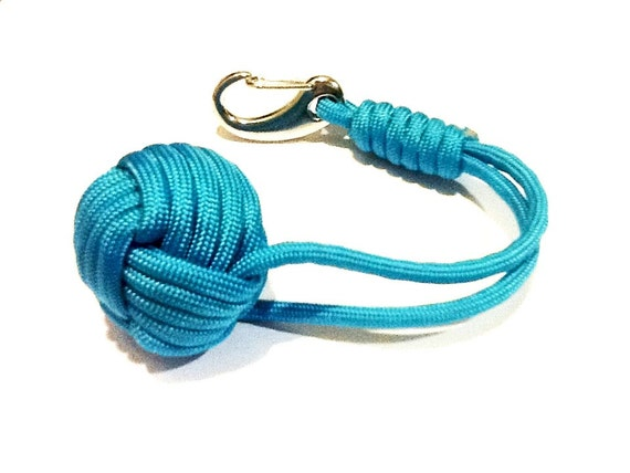 Turquoise blue paracord monkey fist keychain for How to make a keychain out of paracord